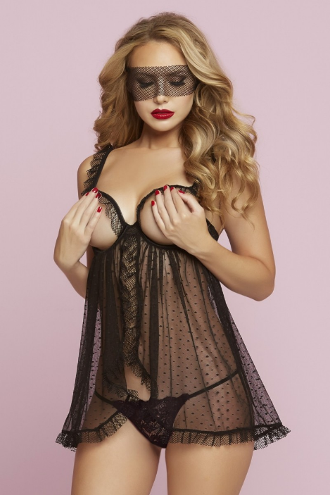 Dotted Open Cup Babydoll by Seven Til Midnight