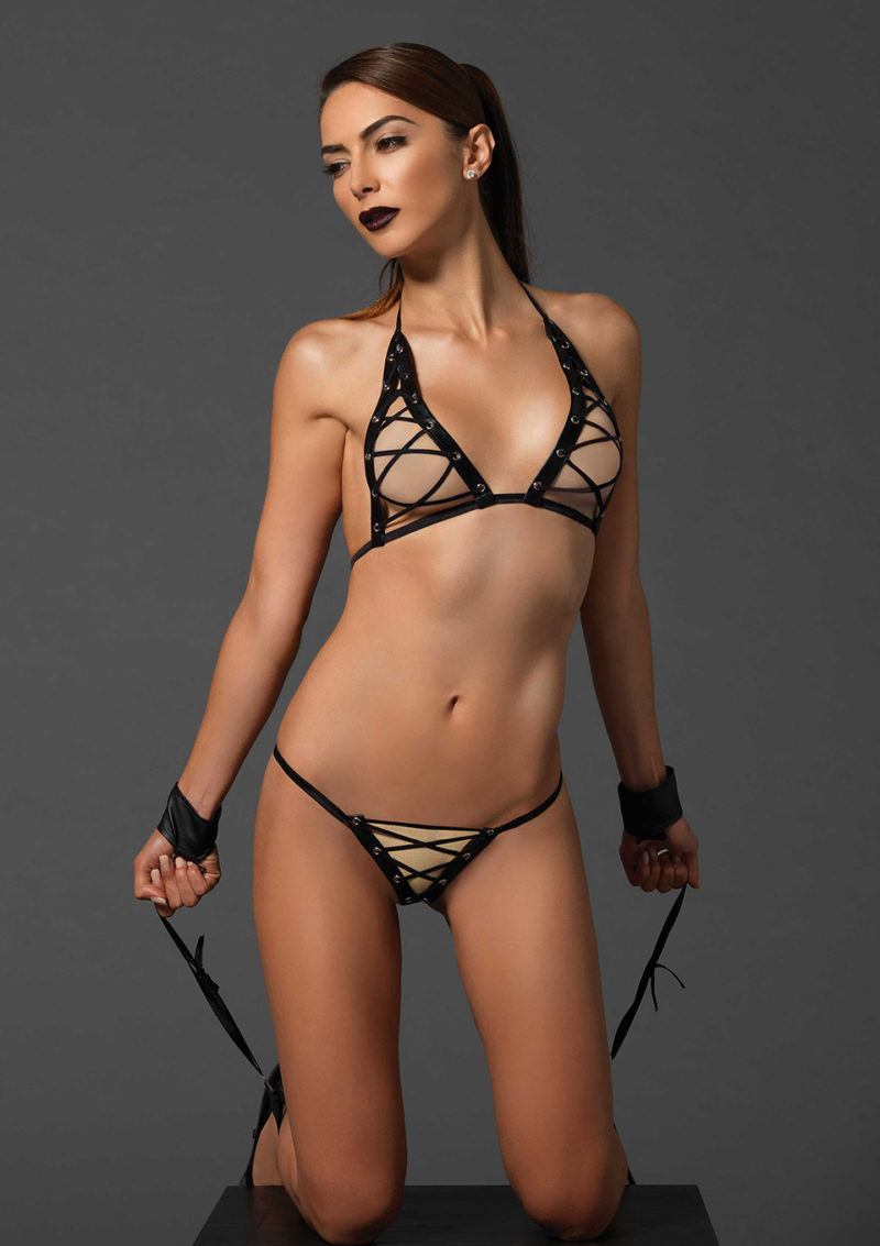 Lace Up Bra Set With Wrist And Ankle Cuffs By Leg Avenue
