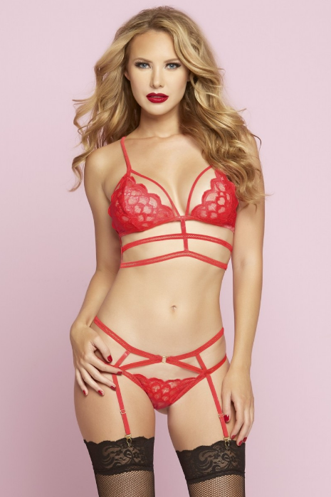 Caged Lace Bra Set with Garter Panty by Seven Til Midnight