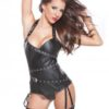 Faux Leather Halter Corset by Allure Kitten