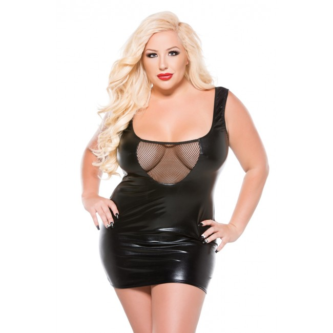 Female wearing a plus size fishnet wet look dress