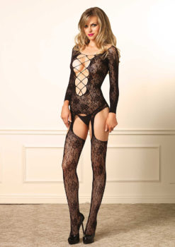Floral Suspender Body Stocking by Leg Avenue
