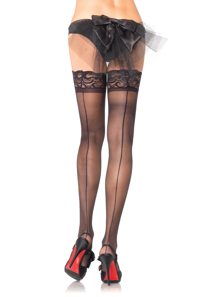 Lace Top Stockings with Backseam by Leg Avenue