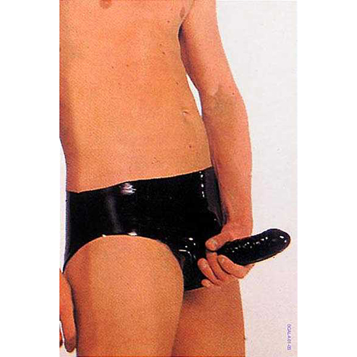 Male wearing a Latex Cock Sleeve Briefs