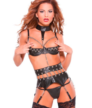 Leather Bra and Garter Belt Set by Allure