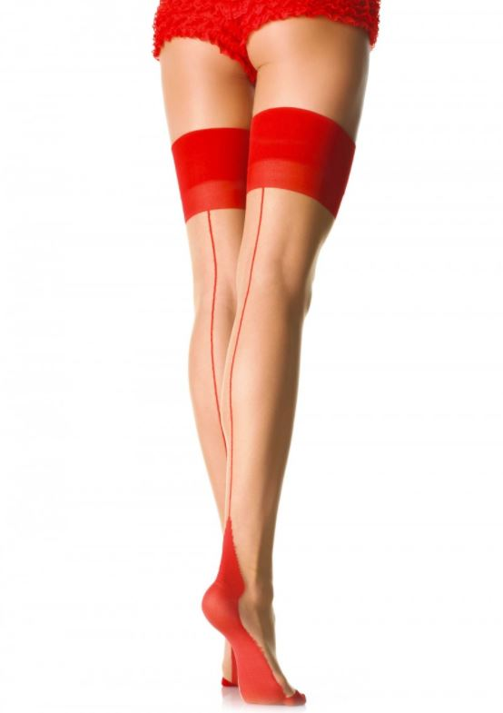 Nude and Red Contrast Stockings by Leg Avenue