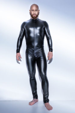 PU Leather Bodysuit for Men