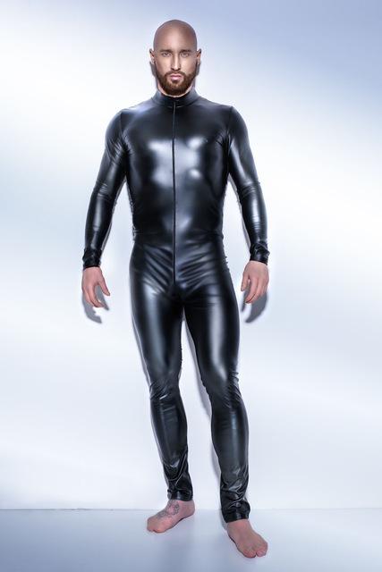 PU Leather Bodysuit for Men