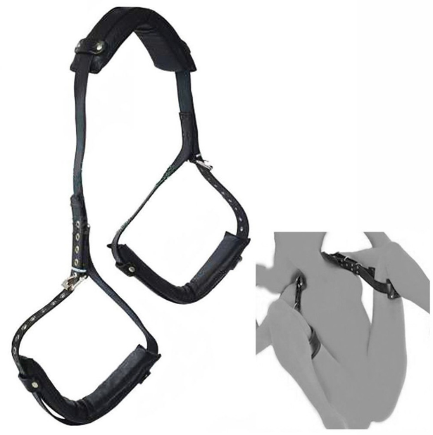 Luxurious sex sling connecting neck to thighs for perfect positioning