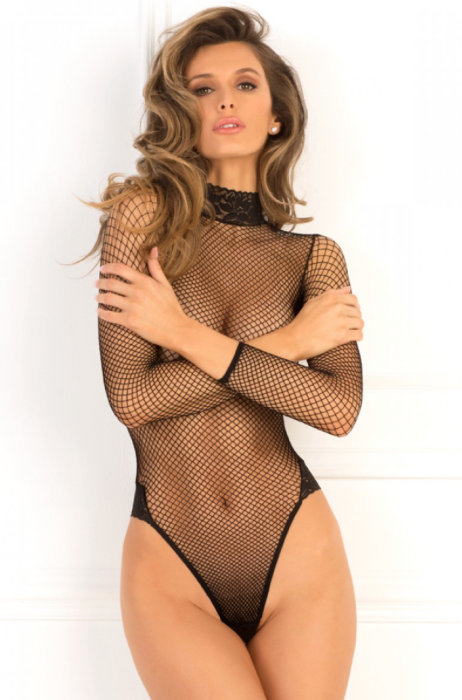 Long Sleeve Fishnet Teddy by Rene Rofe