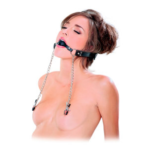 Silicone Ball Gag with Nipple Clamps by Wicked Rabbit
