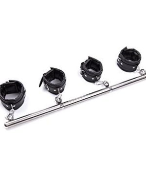 Spreader Bar with Detachable Black Cushion Wrist and Ankle Cuffs