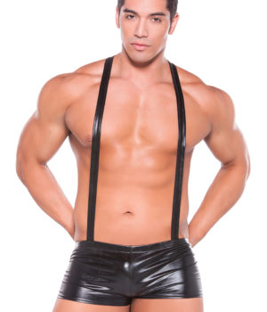 Wet Look Suspender Shorts by Allure Men