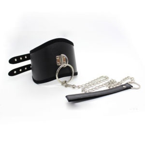 Leather D-Ring Posture Collar with Leash