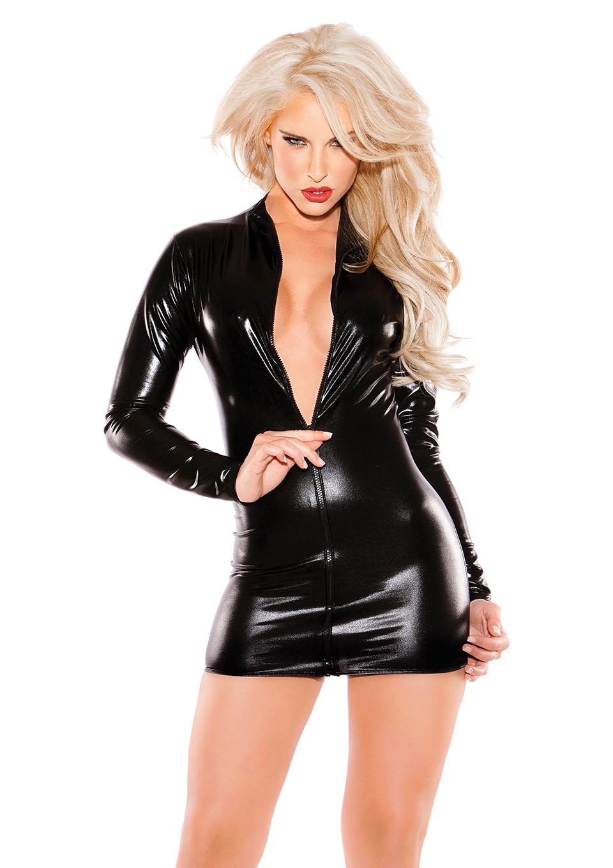 Wet Look Zipper Dress